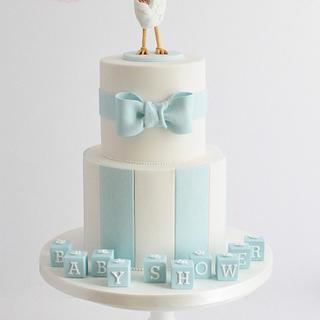 Stork Baby Shower Cake - Cake by The Marbeca Bakery