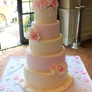 Ivory & Soft Pink Five Tier Roses Wedding Cake