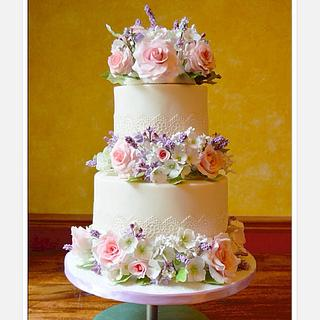 Sugar flowers and lace - Cake by Rebecca Grace