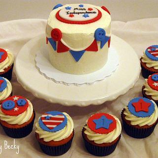 4th of July 1st Birthday - Cake by Becky Pendergraft