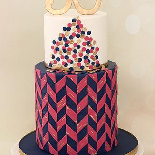 Herringbone 30th Birthday Cake - Cake by AlwaysWithCake