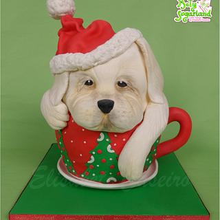 Christmas puppy on a teacup - Cake by Bety'Sugarland by Elisabete Caseiro
