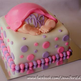 Pink and Purple Baby Bottom Baby Shower Cake - Cake by Jennifer's Edible Creations