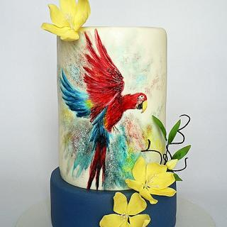 B- Day hand painted parrot cake