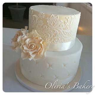 Vintage Lace & Rose Wedding Cake - Cake by Olivia's Bakery