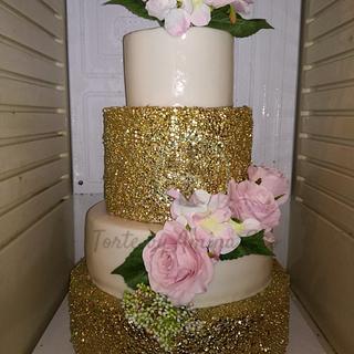 Gold confetti wedding cake - Cake by Torte by Amina Eco