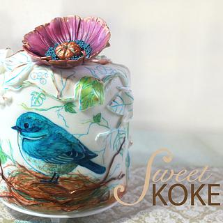 Blue Bird and Purple Flower Cake