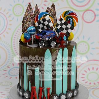 Monster Truck drip cake for Ali's 4th