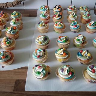 Colour Swirl Skittle cupcakes