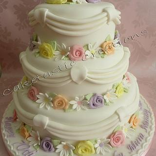 3 Tier Swags & Flowers Cake