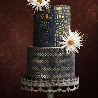 GOLD&NAVY BLUE WEDDING CAKE