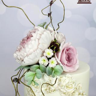 Antique Rose Wafer paper wedding cake
