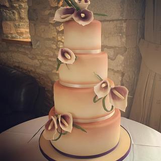 Calla Lily and Copper Lustre wedding cake