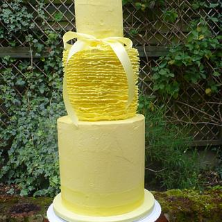 Textured Lemon buttercream wedding cake