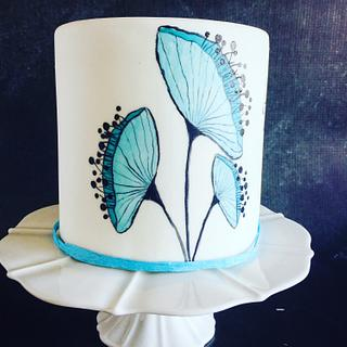 Blue Flower Cake - Cake by Una's Cake Studio