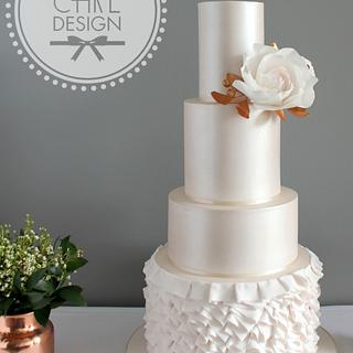 Blush copper wedding cake
