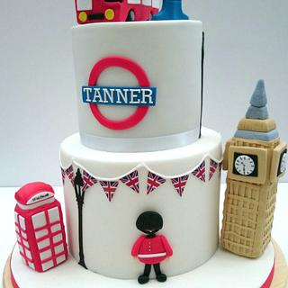 London Theme 1st Birthday Cake