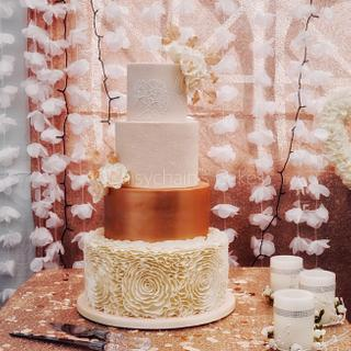 Blush pink, ivory and rose gold wedding cake  - Cake by Daisychain's Cakes