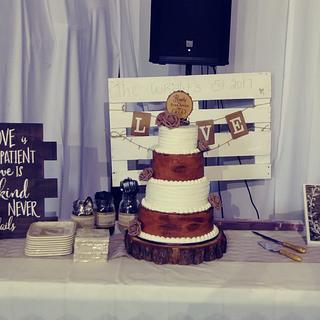Rustic Tree Buttercream and fondant wedding cake