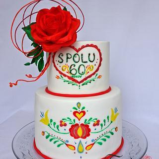 Handpainted Cake with Slovak Folk Art