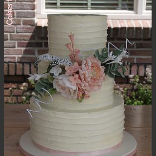 Wedding Cake - Rustic lined Swiss Meringue Buttercream
