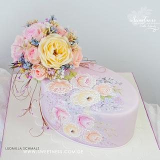 Hand Painted Cake and Wafer Paper Bouquet