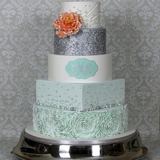 Ruffle sequin wedding cake