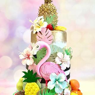 Flamingo and fruits cake
