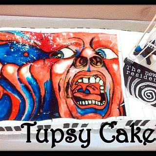 crim crimson hand painted cake  - Cake by tupsy cakes