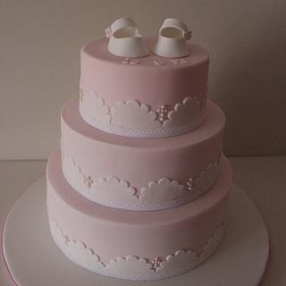 3 tier girls shoes christening cake