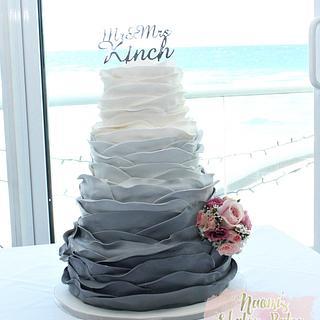 Ombre Gray wedding cake