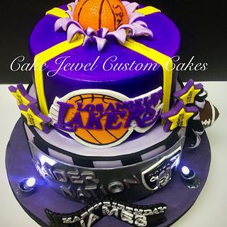 Lakers and Raiders Fan Combo Cake - Cake by Cake Jewel Custom Cakes
