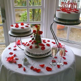 Rose Petal themed Wedding Cake