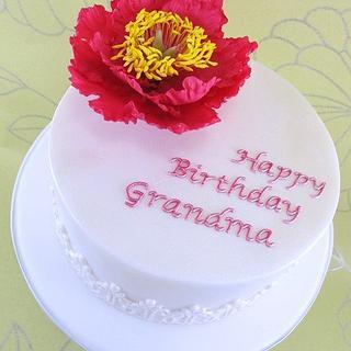 Open Peony Birthday Cake