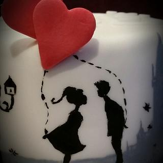valentine's first kiss. hidden heart. kiss cake - Cake by Tracey