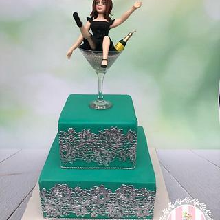 Wineglass lady 50 Birthday