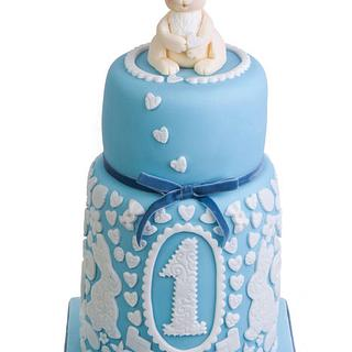 Double barrel two tier First birthday baby blue bunny cake