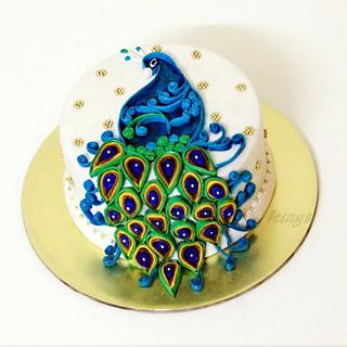 Quilled peacock cake