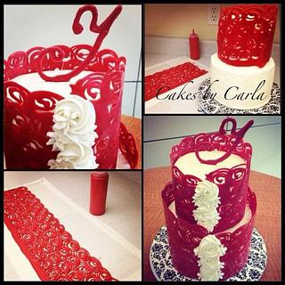 Four Layered Red & White Cake