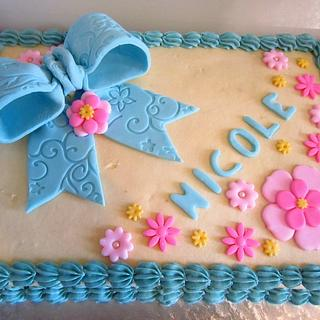 Bow and Flowers Sheet Cake