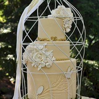 Woodland Wedding Bird Cage Cake