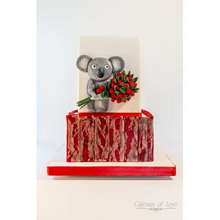 Valentine's Day Cake, Koala & Cupid Sides  - Cake by Gâteaux of Love