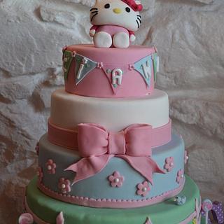 Hello Kitty cake and mini cupcakes