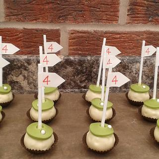 """4 !!""...........Golf theme cake pops"