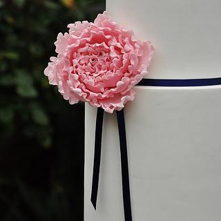"""Pink Peony Wedding Cake"""