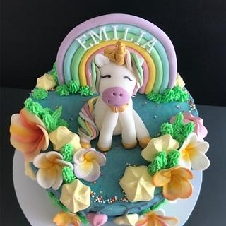 Unicorn and rainbow. - Cake by Penny Sue