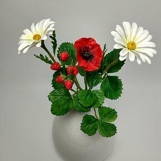 Strawberries,daisies and poppy