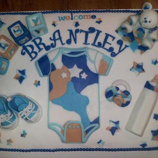 Blue Camo Baby Shower Cake