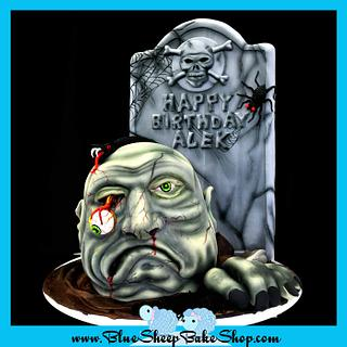 Zombie Head Birthday Cake  - Cake by Karin Giamella