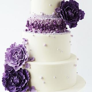 Purple ombre beaded wedding cake - Cake by Little Miss Fairy Cake